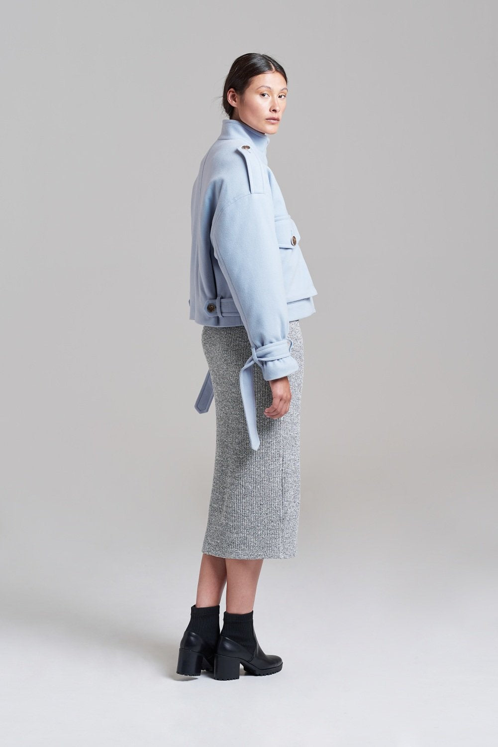 Load image into Gallery viewer, Palones Powder Blue Cropped Oversized Utility Coat