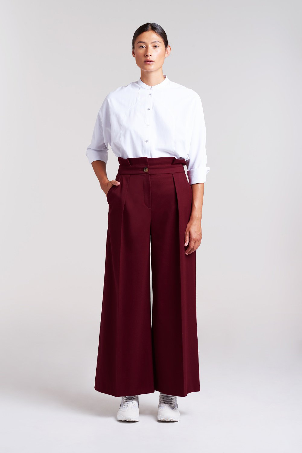 Load image into Gallery viewer, Palones Burgundy Camden Paper Bag Wide Leg Trouser