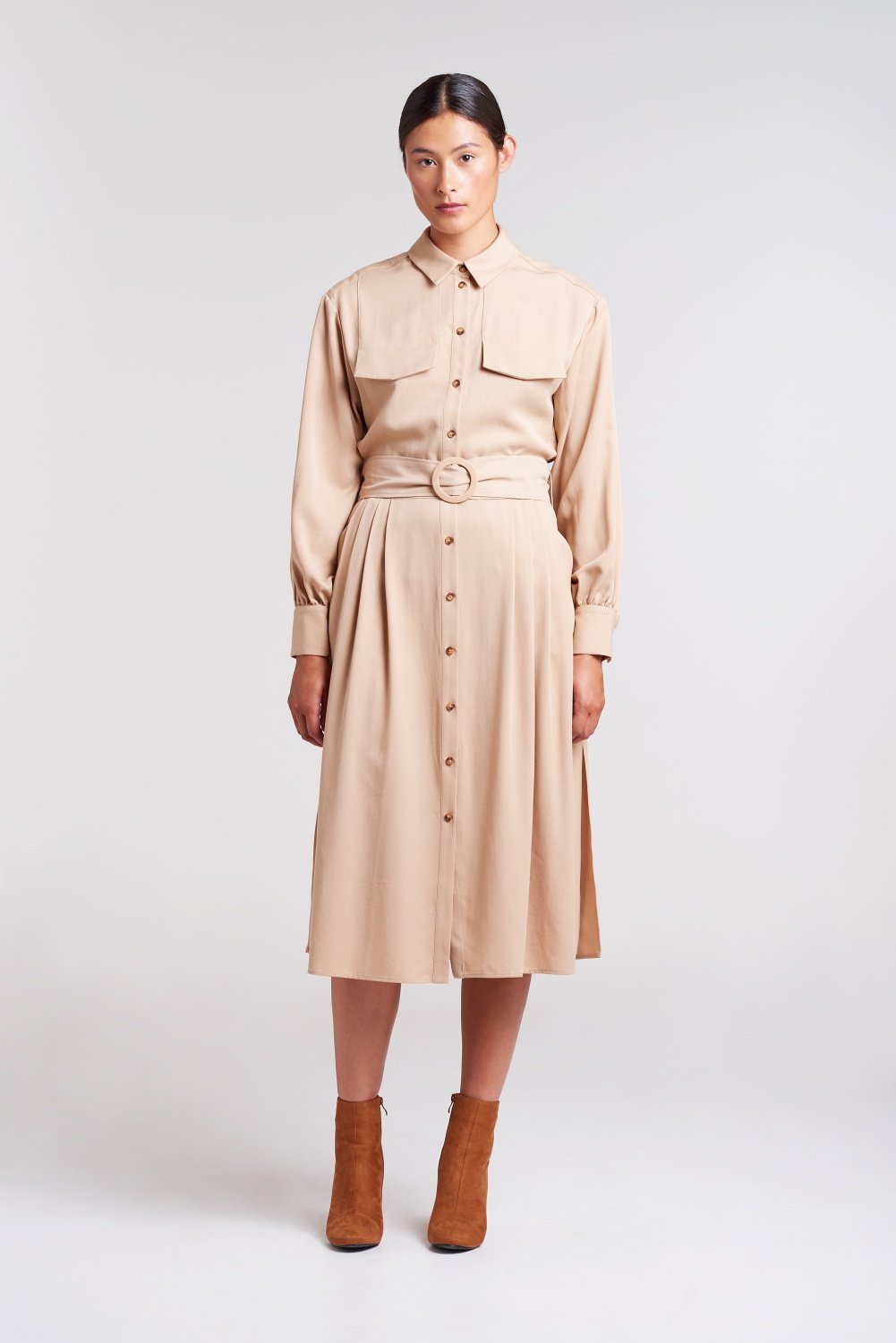 Load image into Gallery viewer, Pleated-Shirt-Dress
