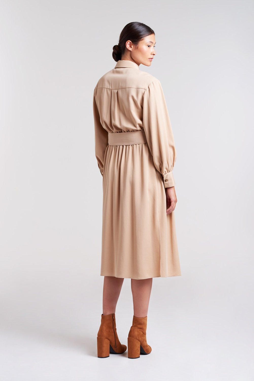 Load image into Gallery viewer, Palones Tan Pleated-Shirt-Dress