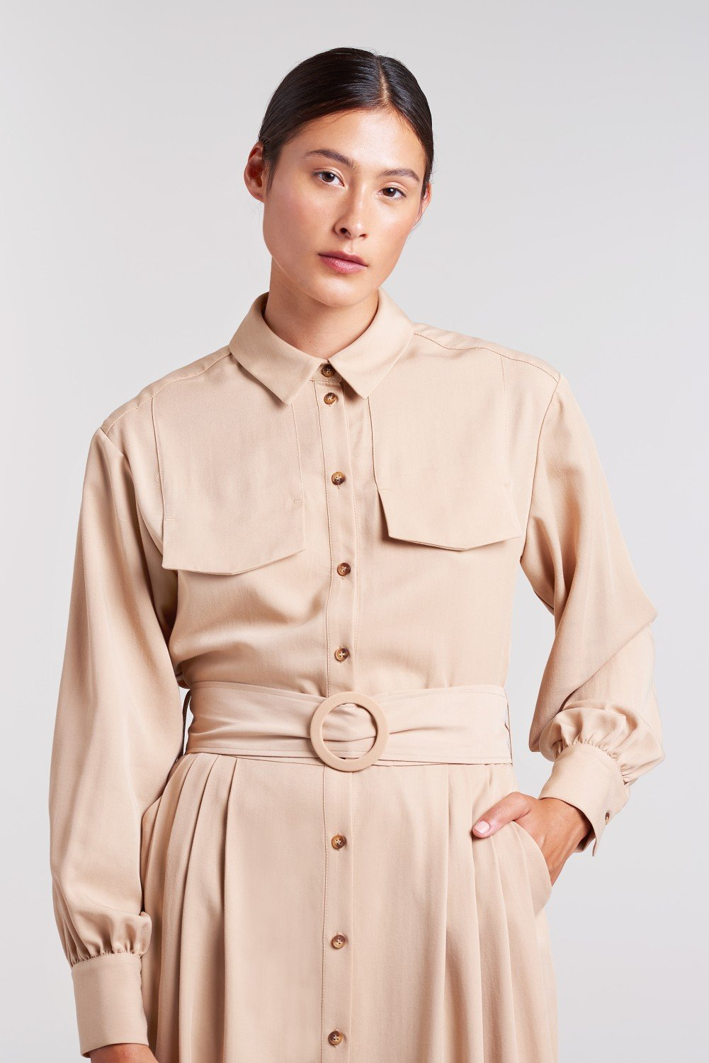 Load image into Gallery viewer, Palones Tan Pleated Shirt Dress