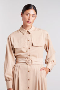 Palones Tan Pleated Shirt Dress