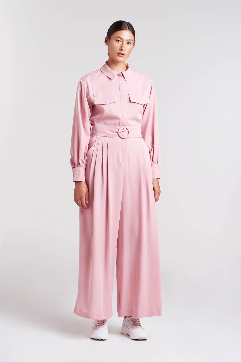 Palones Pink Pleated Belted Jumpsuit