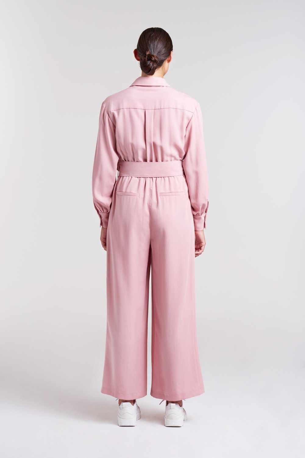 Load image into Gallery viewer, Palones Pink Pleated Belted Jumpsuit