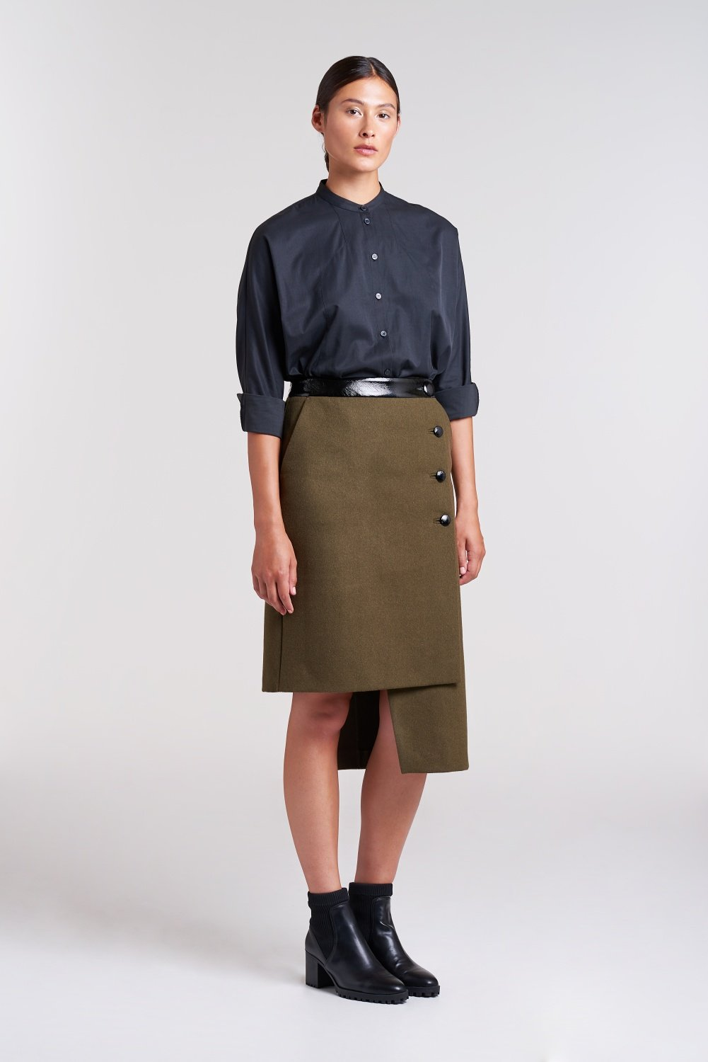 Palones Khaki Side Button High Low Skirt