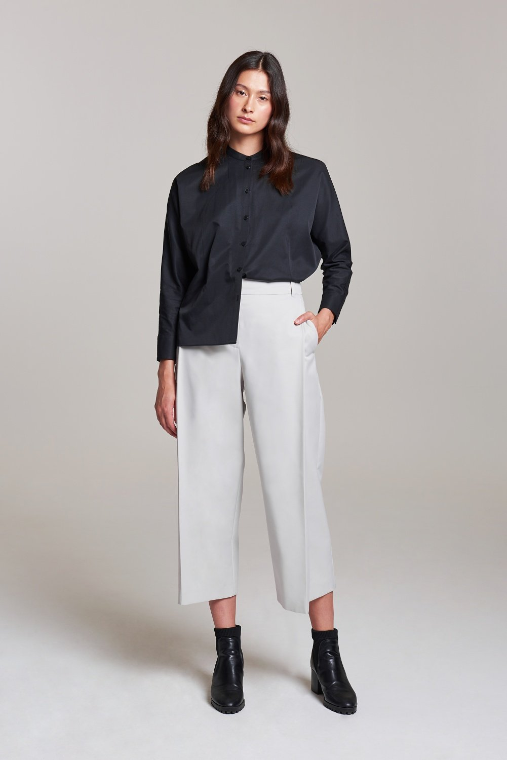 Palones Pale Grey Carnaby Pleat Peg Trouser