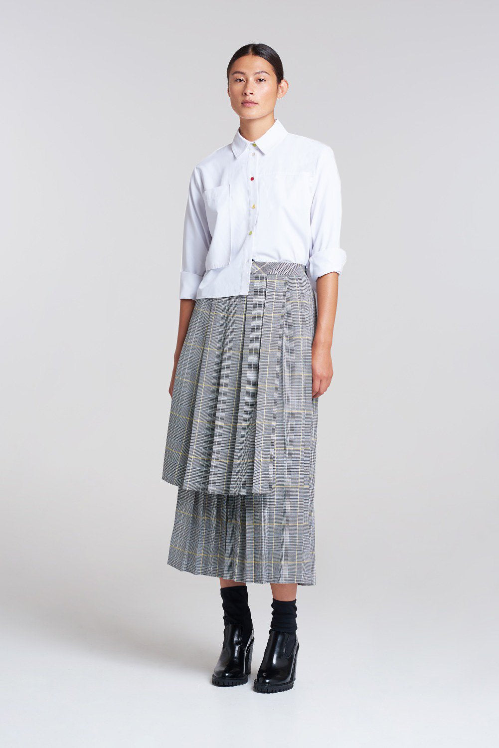 Load image into Gallery viewer, Palones Check London Fields High Low Pleated Skirt