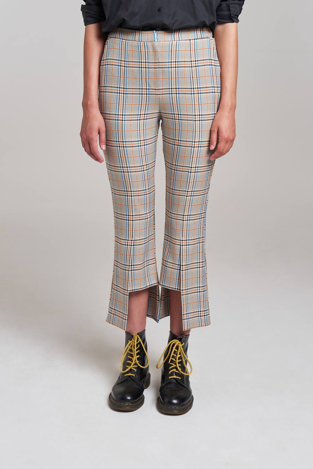 Load image into Gallery viewer, Palones Check Hoxton Kick Flare Trouser