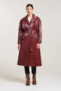Palones Croydon Burgundy Vegan PU Trench Coat