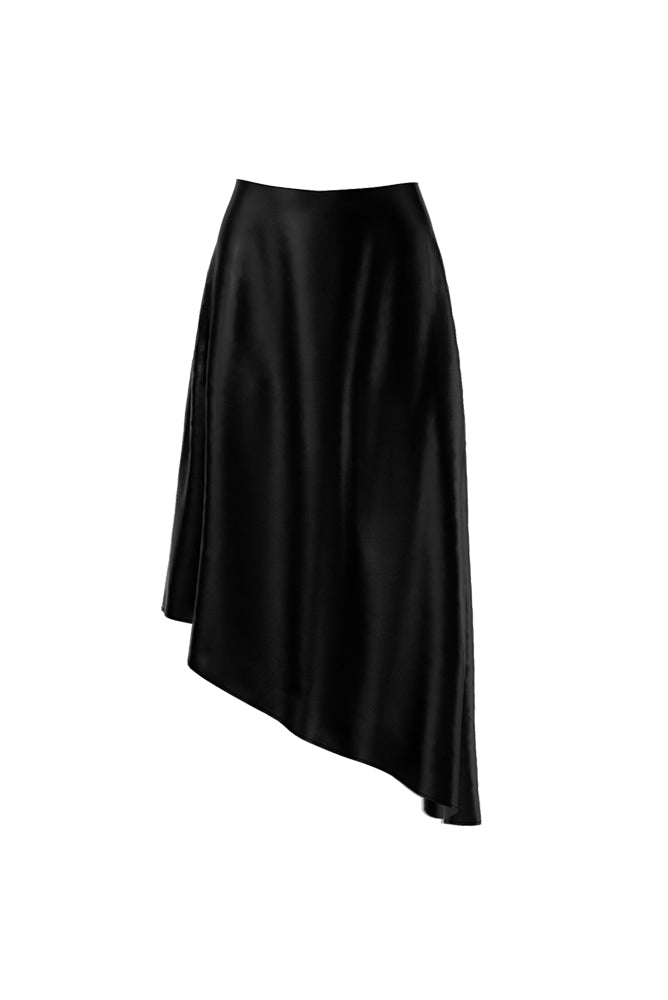 Palones Asymmetric Midi Satin Black Skirt
