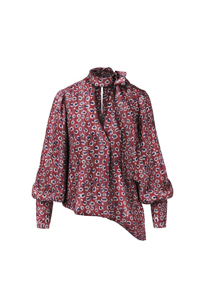 Load image into Gallery viewer, Palones Asymmetric Pussy Bow Burgundy Brint Blouse