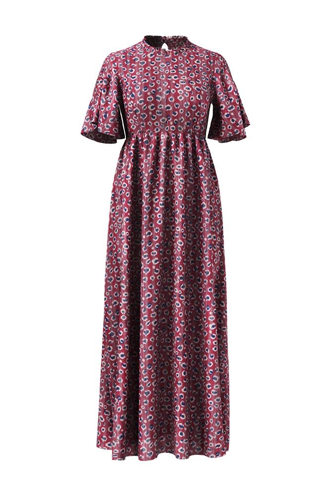 Palones Aurora Angel Sleeve Burgundy Print Maxi Dress