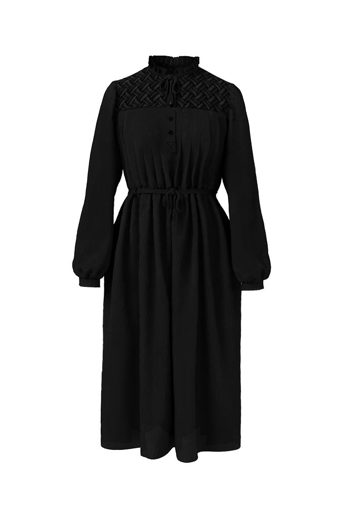 Load image into Gallery viewer, Palones Barbican Smocking Shirt Black Dress