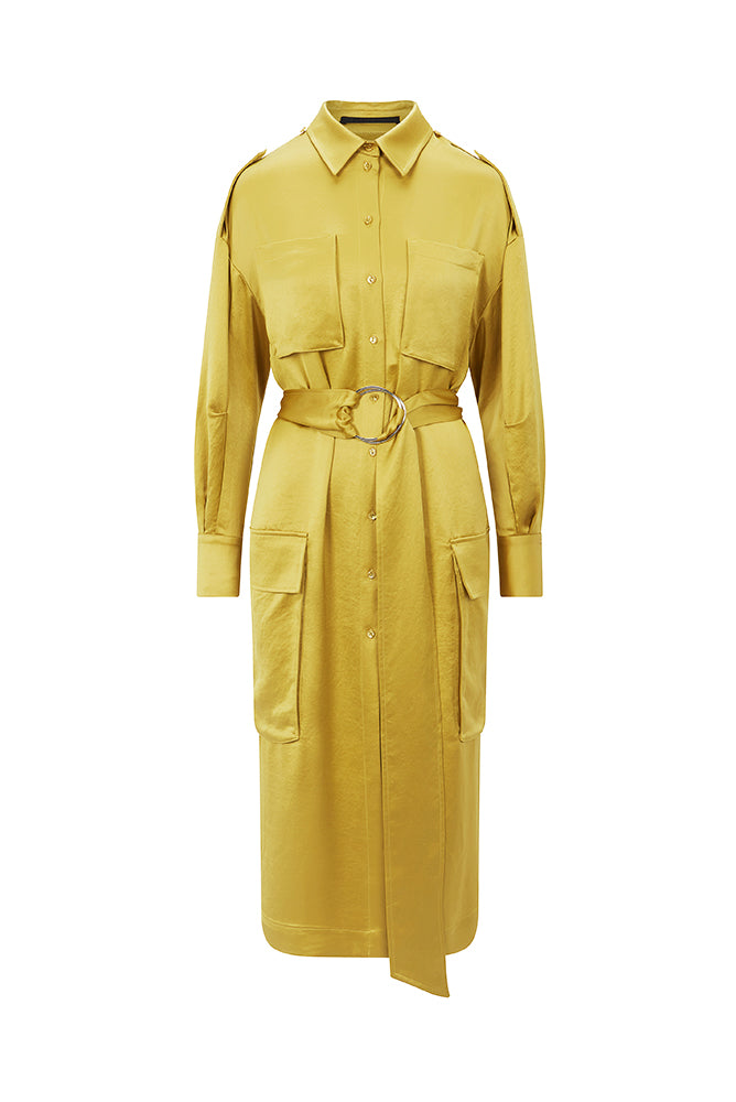 Load image into Gallery viewer, Palones Yellow Notting Hill Utility Belted Dress Coat
