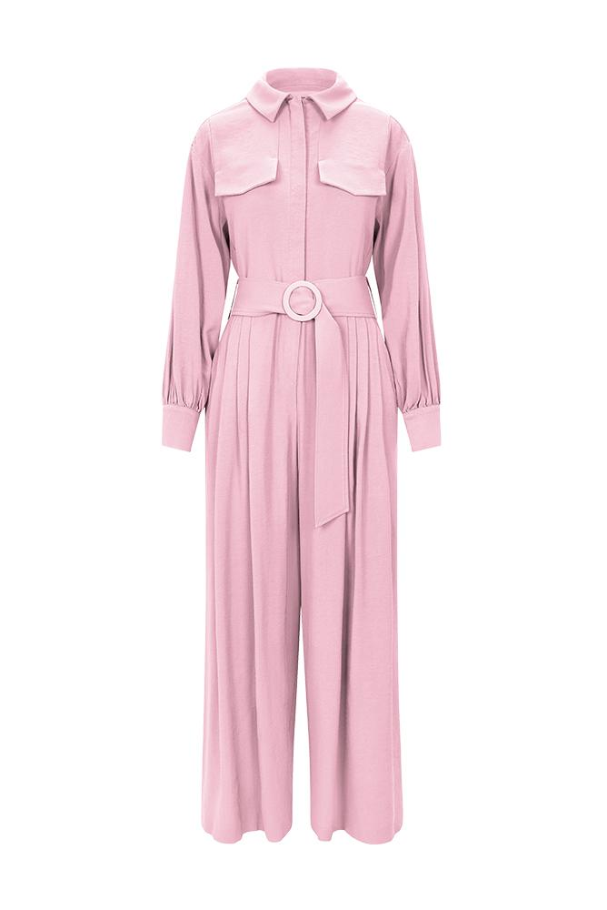Palones Pink Long Sleeve Pleated Belted Jumpsuit