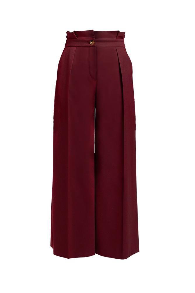 Palones Camden Paper Bag Wide Leg Burgundy Trouser