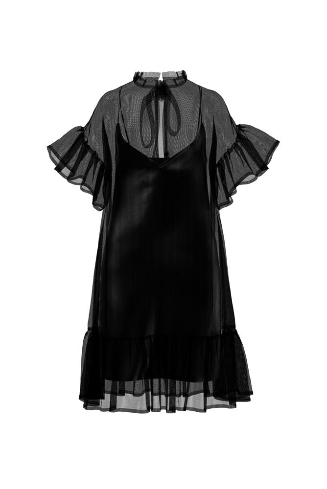 Palones Black Carnaby Organza Ruffle Dress