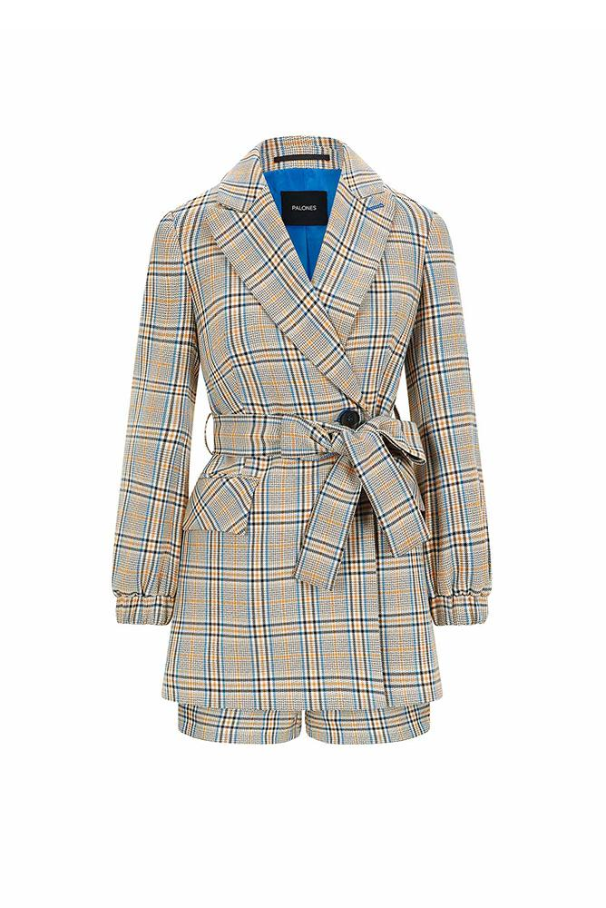 Palones Hoxton Check Short Belted Blazer Playsuit