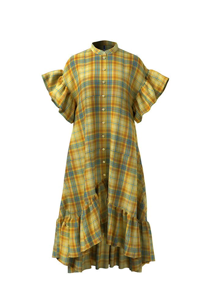 Palones Kimmi Yellow Check Ruffle Dress