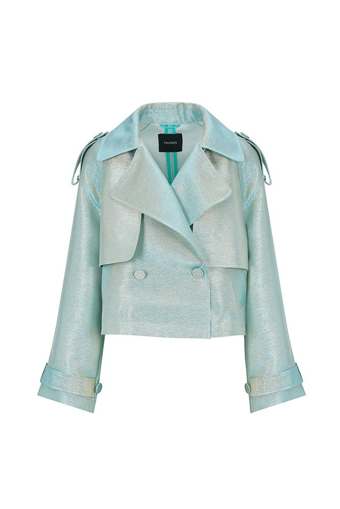 Palones Luna Metalled Crop Mint Trench