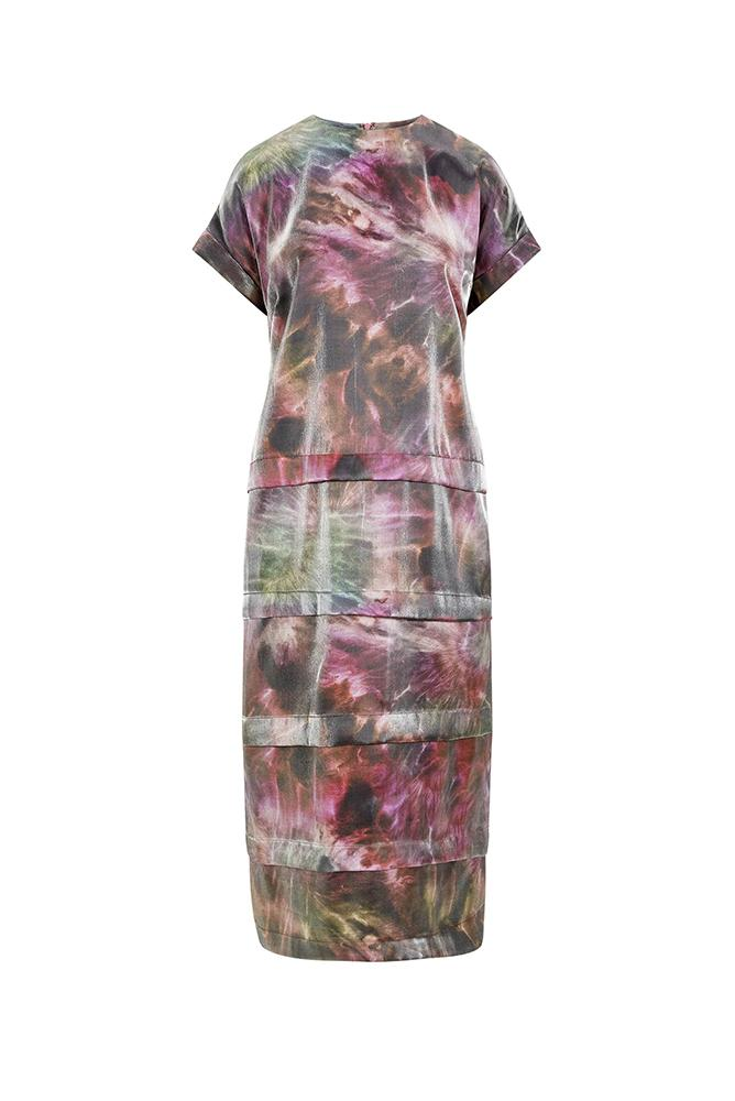 Luna Pleated Tee Pink Tie Dye Dress