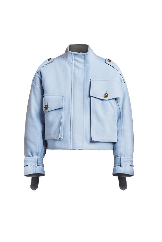 Load image into Gallery viewer, Palone Blue Oversized Cropped Utility Coat