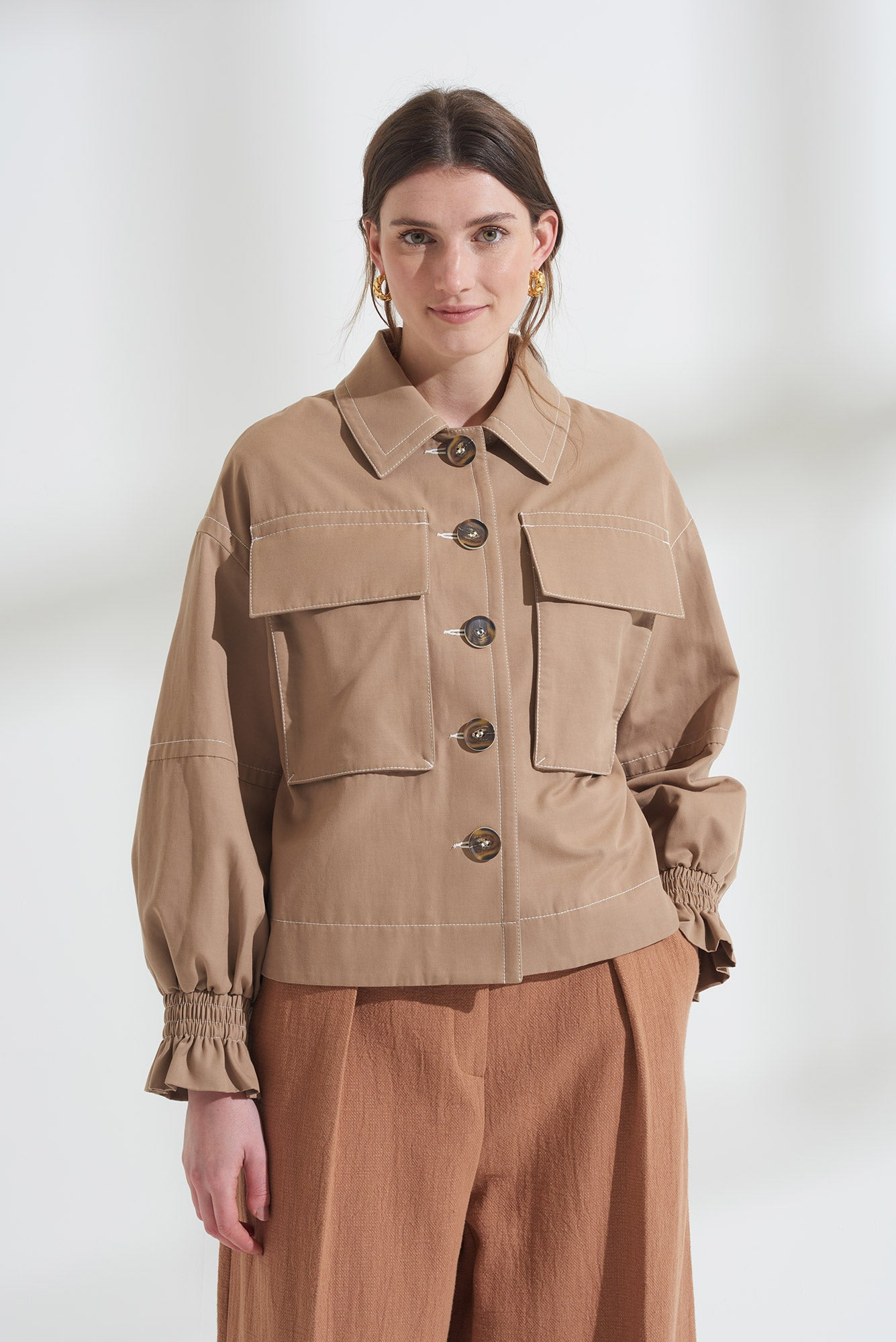 Load image into Gallery viewer, Oversized Frill Cuff Utility Jacket