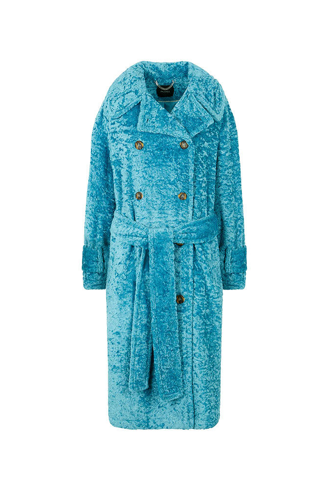 Load image into Gallery viewer, Palones Paddington Faux Fur Blue Coat