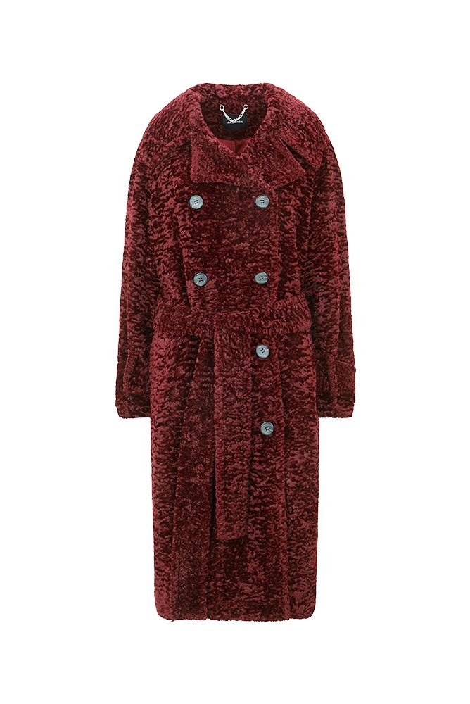 Load image into Gallery viewer, Palones Paddington Burgundy Faux Fur Trench