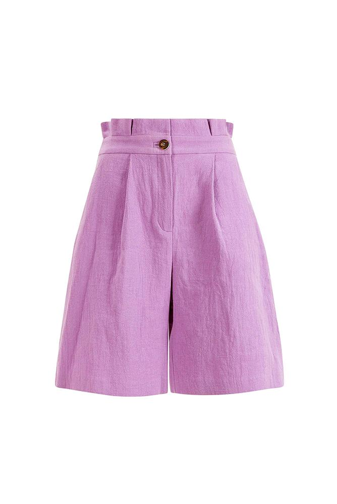 Load image into Gallery viewer, Palones Paper Bag Waisted Lilac Bermuda Shorts