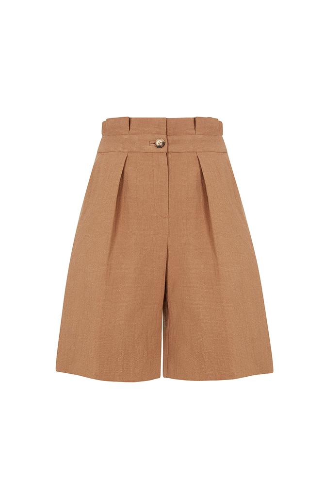 Load image into Gallery viewer, Palones Paper Bag Waisted Tan Bermuda Shorts