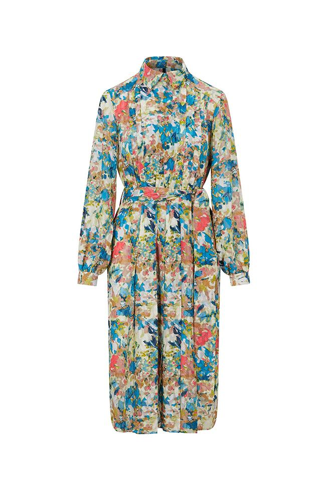 Palones Floral Pleat Detail Shirt Dress
