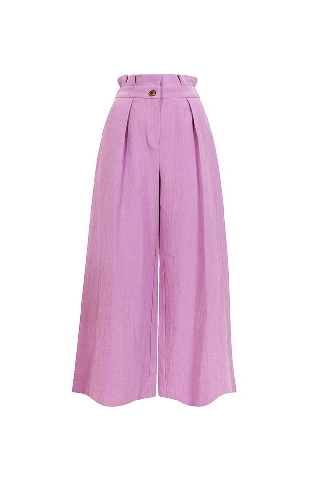 Load image into Gallery viewer, Palones Lilac Paper Bag Waist Wide Leg Trouser