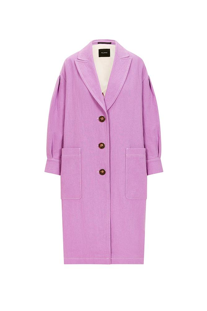 Palones Lilac Pleat Sleeve Single Breasted Duster Jacket