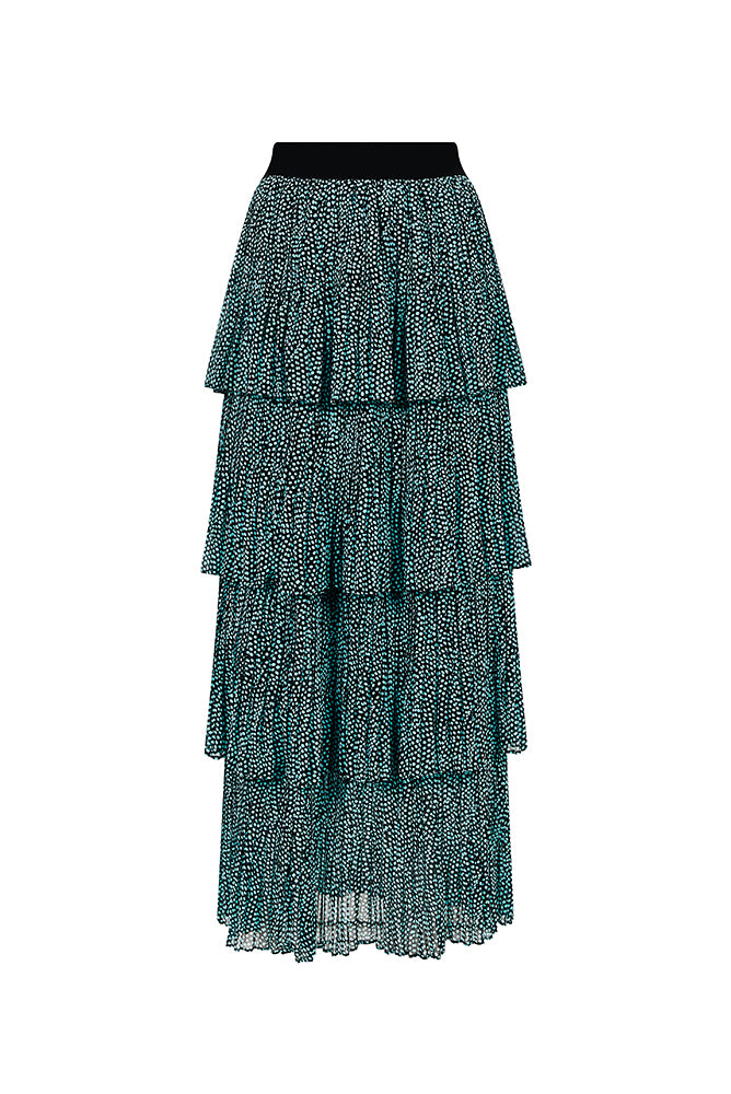 Palones Debbie Pleat Spot Ruffle Skirt In Black and Blue