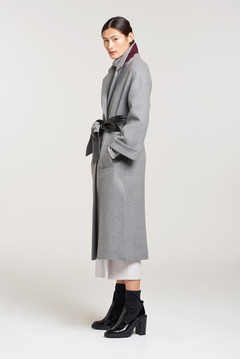 Load image into Gallery viewer, Palones Grey Belted Robe Coat