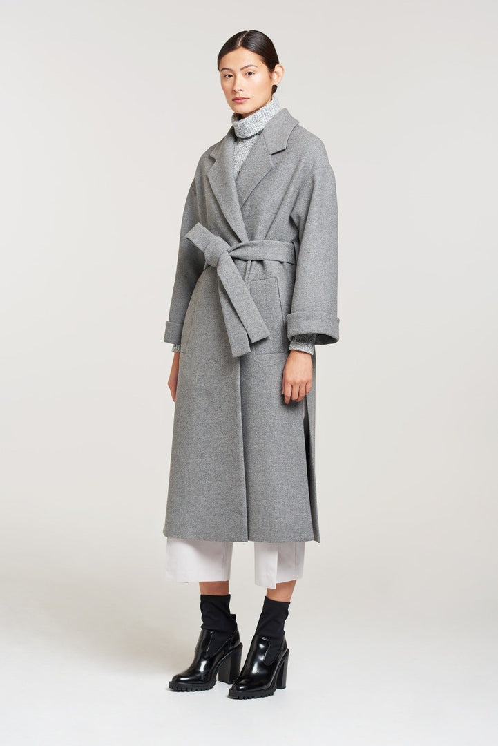 Palones Grey Belted Robe Coat