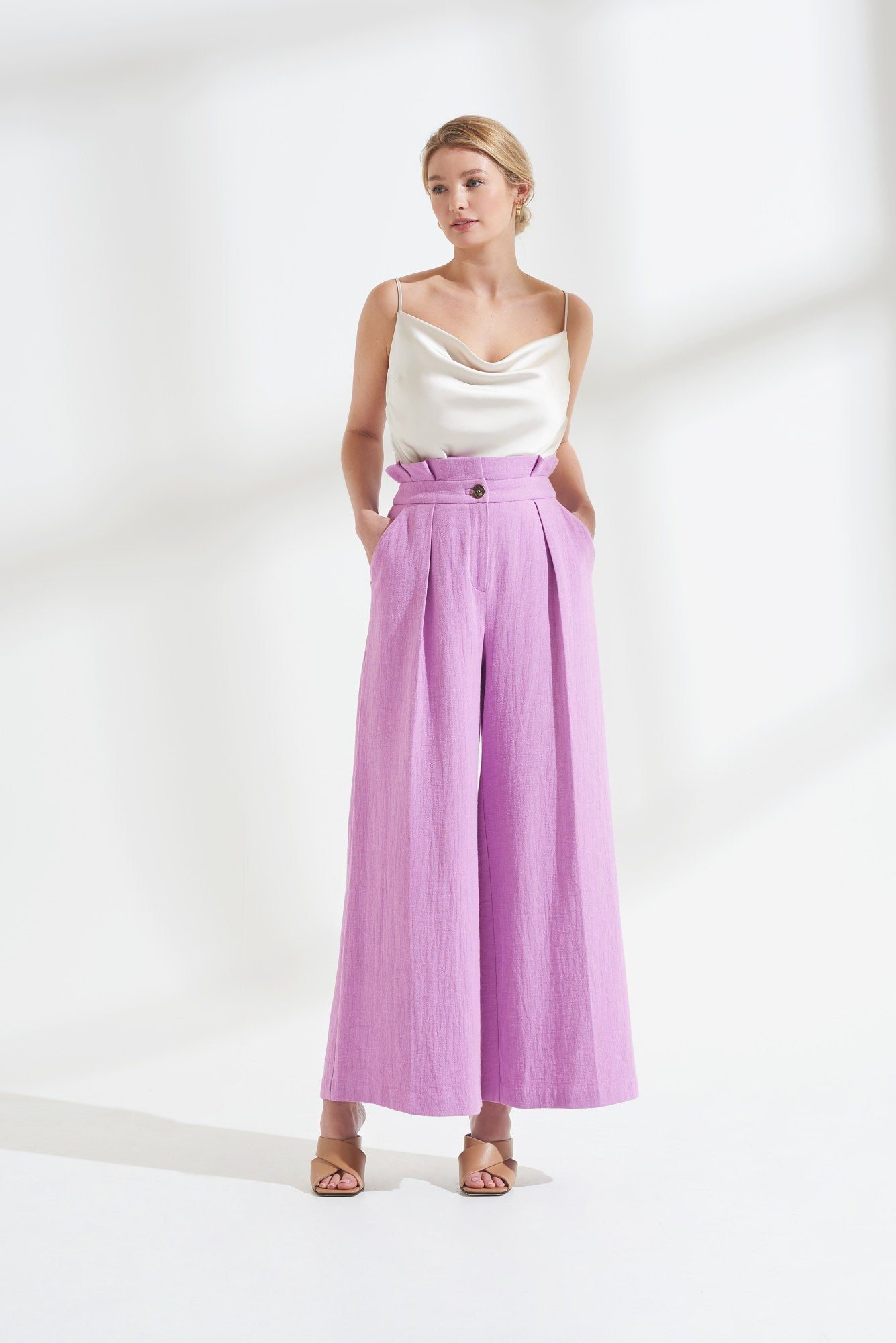 Load image into Gallery viewer, Palones Purple Paper Bag Waisted Wide Leg Trouser