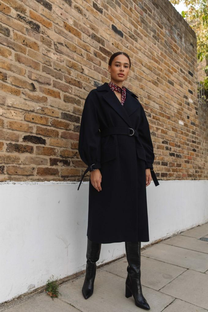 Palones Navy Puff Sleeve D-Ring Coat