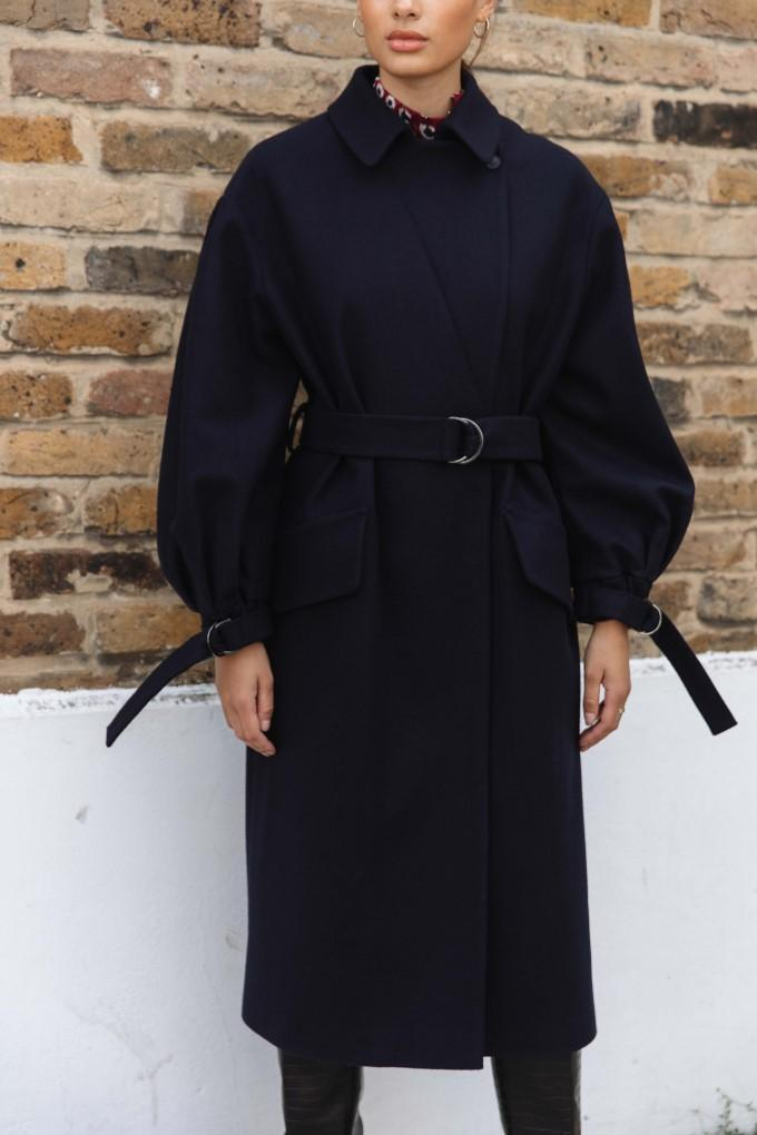 Load image into Gallery viewer, Palones Navy Puff Sleeve D-Ring Coat