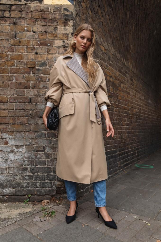 Palones Tan Puff Sleeve D-Ring Trench Coat