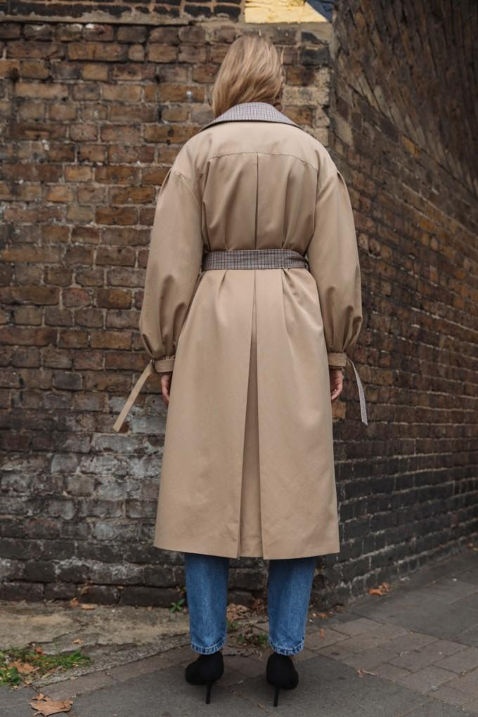 Load image into Gallery viewer, Palones Tan Puff Sleeve D-Ring Trench Coat