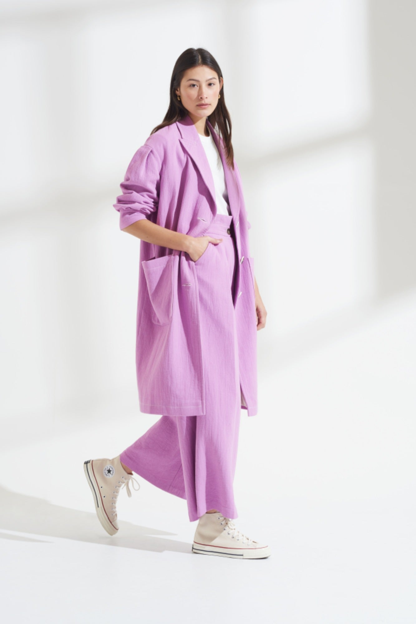 Load image into Gallery viewer, Palones Purple Pleat Sleeve SB Duster