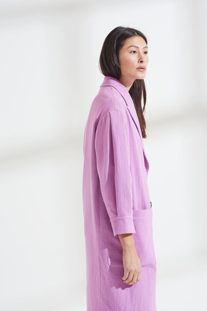 Load image into Gallery viewer, Palones Lilac Pleat Sleeve Single Breasted Duster Jacket
