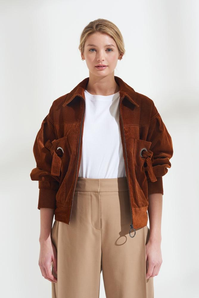 Load image into Gallery viewer, Palones Rust Cord Crop Jacket