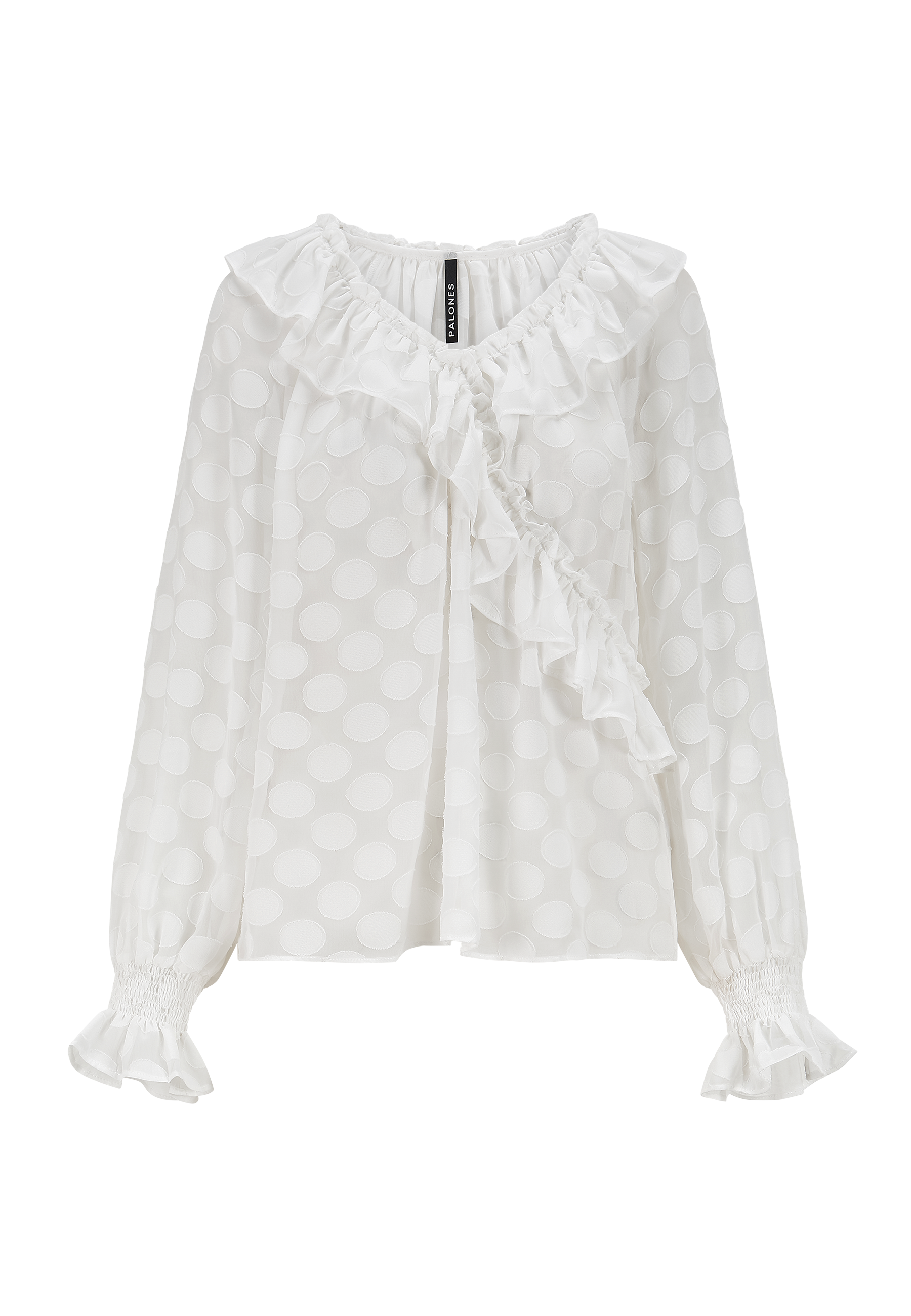 Load image into Gallery viewer, Satin Spot Ruffle Neck Blouse