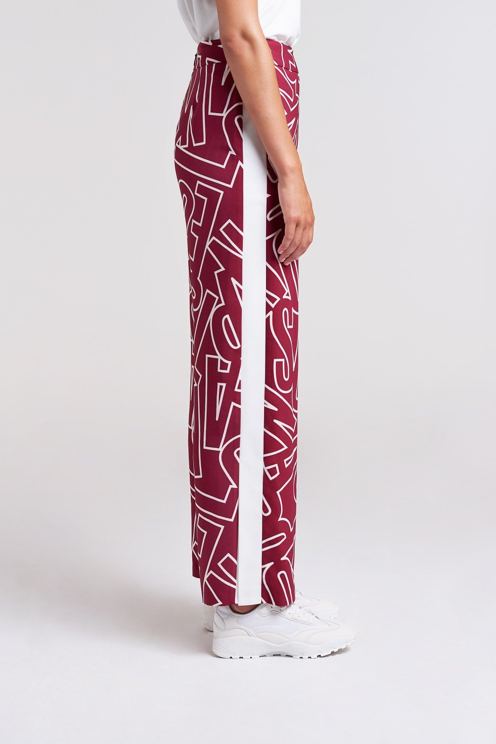 Load image into Gallery viewer, Palones Burgundy and Cream Signature Pyjama Satin Trouser
