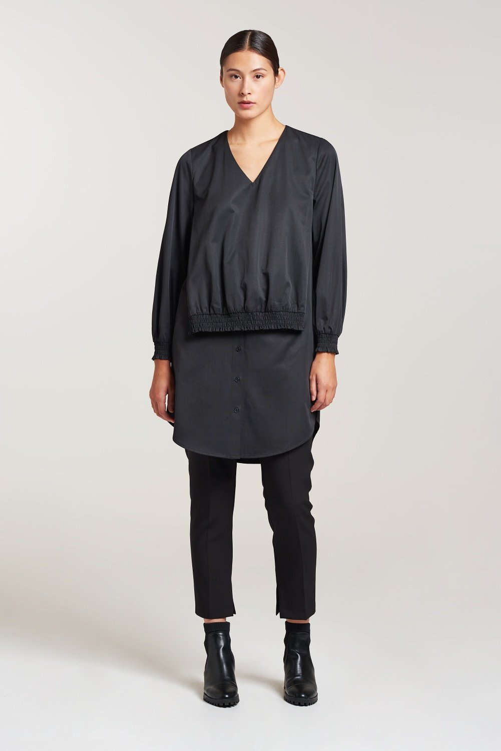 Palones Black Smocking Elastic Shirt Dress