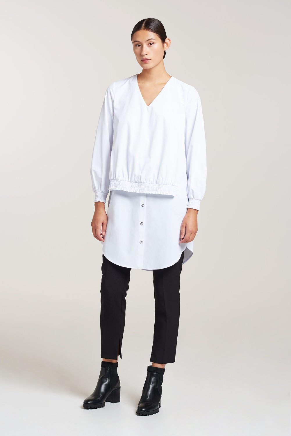 Palones White Smocking Elastic Shirt Dress