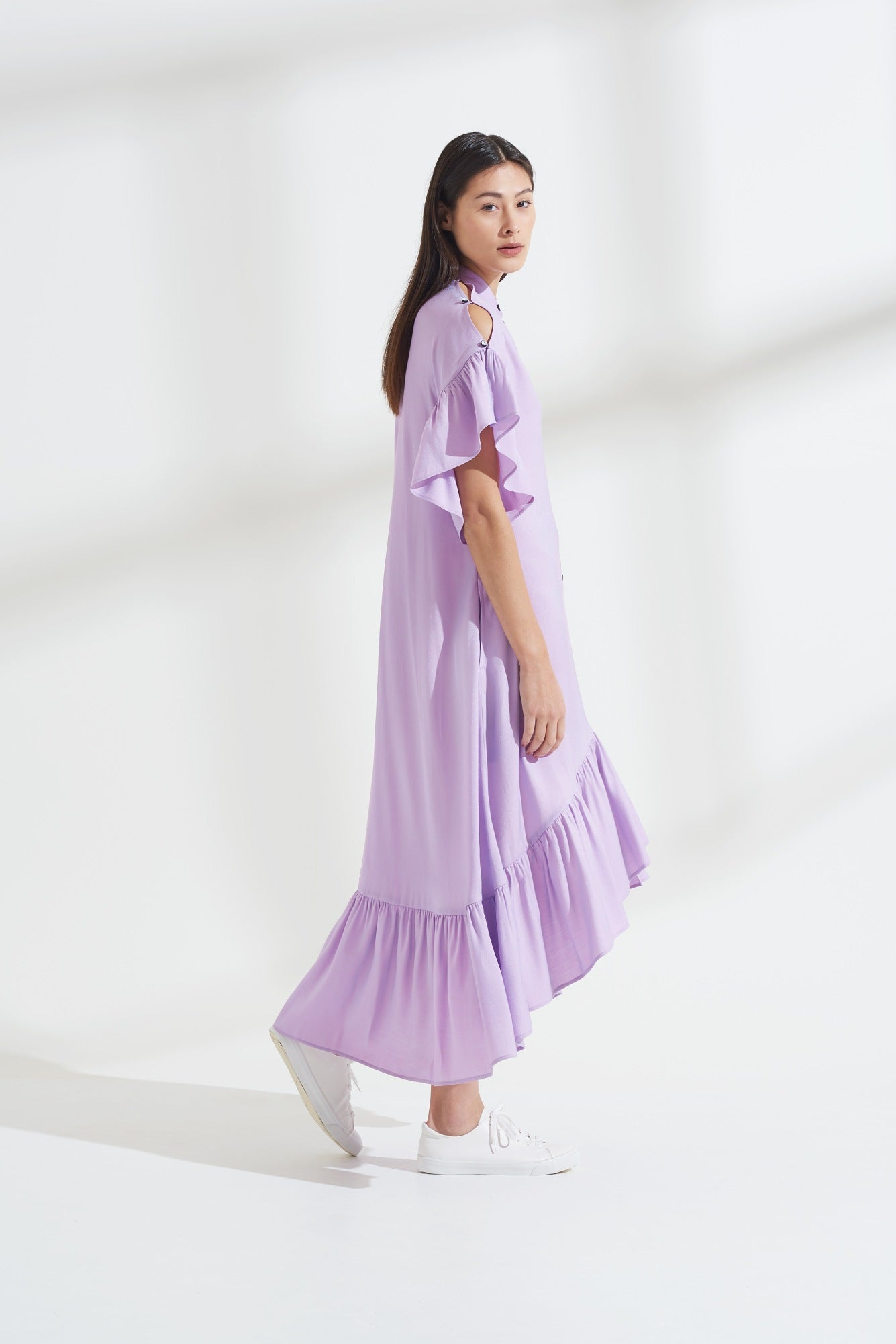 Load image into Gallery viewer, Palones Lilac Skye Ruffle Shimmer Dress